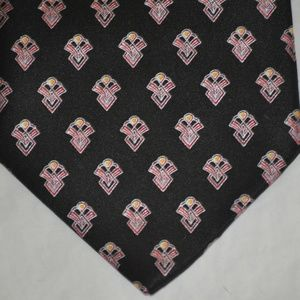 BRIONI Black with Red Design Handmade Tie NWOT